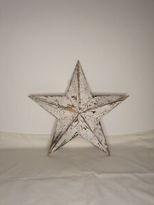 White Washed Wooden Amish Barn Star Large 54cm Shabby Chic Rustic Wall Hanging