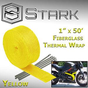 "1"" x 50' Ft Motorcycle Header Exhaust Heat Wrap Fiberglass Manifold - Yellow (B)"