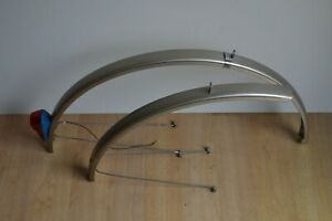 Vintage Gold Colour Full Length Steel Mudguards 44mm Pair with Rear Dynamo Light