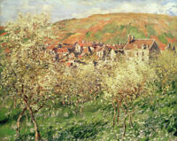 Claude Monet Apple Trees In Blossom Fine Art Print on Canvas GIclee Small 8x10