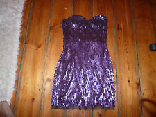 BNWT KATE MOSS PURPLE SEQUIN CORSET TOP BODYCON DRESS 8-10 TOPSHOP