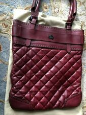 Burberry Women Rare Studded Deep Wine Red and Guilt Leather Tote Bag