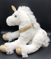 """Large Unicorn Plush White Gold Glitter Horn Hooves Eyes Gold Stars 25"""""""