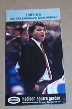 New York Rangers & Knicks pocket schedule 1987-1988 NHL # 3