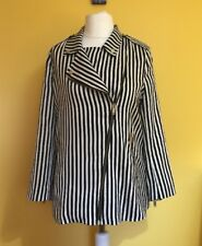 ZARA Black White Stripe Smart Jacket ~Sz-UK 12/14 L MEX-30~Diagonal Zip Women's