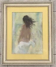 #01 Beautiful Framed Female Nude Water Color Painting Signed by Artist