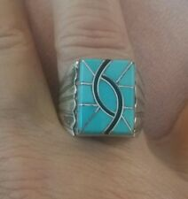 Navajo Signed N.Lee (Norman Lee) Sterling Turquoise Ring Size 11 Nwt