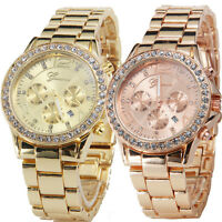 Geneva Womens Fashion Watches Crystal Dial Date Quartz Wrist Watch Lady Watches