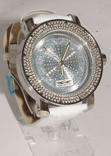 King master men watch white gold  finish white leather band  with 12 diamonds