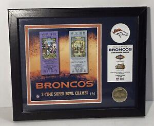 Denver Broncos NFL 2 Time Super Bowl Champ Tickets Limited Edition Highland Mint