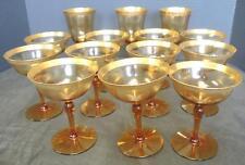 14 Gold Amber Tiffin Depression Glass Stemware Optic Panel Laurel Gold Encrusted