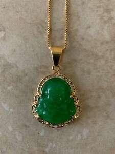 Beautiful Green Jade Buddha Pendant 14K gold plated Necklace Natural Real Jade