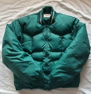 Vintage 80s Teal Comfy Down Puffer Jacket Coat Quilted Zip Western USA Mens M