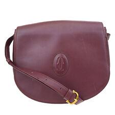 Authentic Must De Cartier 2C Logo One Shoulder Bag Leather Bordeaux Italy 01R720