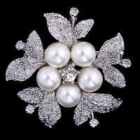 Vintage Silver Leaf  Pearl Crystal Rhinestone Brooch Pins Bouquet Wedding Bridal