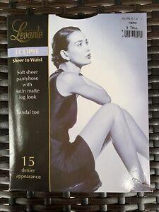 LEVANTE Eclipse Sheer To Waist Satin Matte Leg Look Black Pantyhose Sz 3 TALL