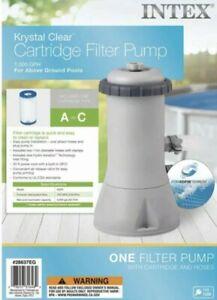 NEW-Intex Krystal Clear Cartridge Filter Pump 110-120V with GFCI, 1000 GPH Pump
