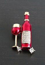 Brooch Pin Brand New Free P&P Diamante Red Wine Glass Bottle Enamel Fashion
