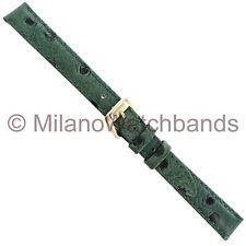 12mm Speidel Green Ostrich Grain Stitched Padded Ladies Watch Band Reg 465 430
