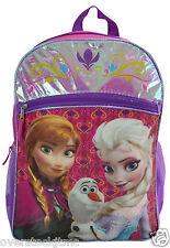 "Genuine Licensed Disney Frozen Olaf Elsa Anna 16"" School Pink Purple Backpack"