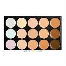 15 Colors Face Cream Contour Makeup Concealer Palette Sponge Puff Powder Brush