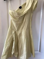 Kate Moss Topshop Summer Dress One Shoulder Pale Yellow Size 12