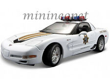 MAISTO 31383 CHEVROLET CORVETTE C5 ZO6 1/18 DIECAST MODEL POLICE CAR WHITE
