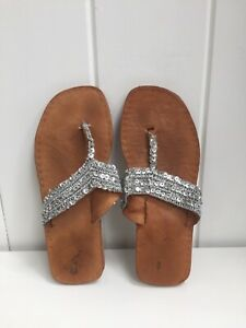 Indian Leather Sandals Size 6 Barely Worn Silver Sequins