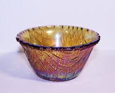 Vintage Indiana Glass Marigold Carnival Glass Bowl, Basket Weave Pattern