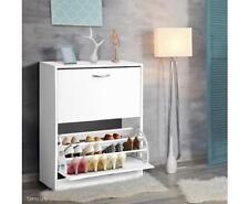 2 Door Drawers Chest Shoe Cabinet Cupboard Storage Organizer 24 Pair Rack White