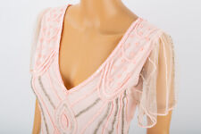GATSBYLADY PINK BEADED GATSBY FLAPPER DRESS SIZE 8 MIDI CHARLESTON PARTY BNWT