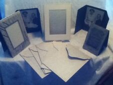 Antique  10 Pc Easel Mat Frame Art Deco Photo Card Holder Sepia Family Man Baby