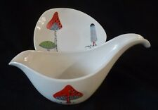 RARE Midwinter TOADSTOOLS Gravy Boat & Stand Jessie Tait 1956
