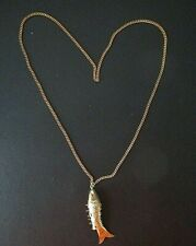 """Vintage Articulated Gold Tone Fish Pendant On 24"""" Gold Tone? Chain-Hong Kong"""