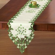 Embroidered Irish Clover St. Patrick's Day Polyester Table Runner