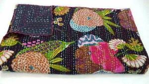 Indian Kantha Twin Quilt Black Fruit Print Reversible Bedspread Blanket Throw
