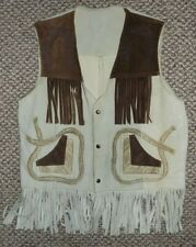 Vintage Western Wear Leather Rodeo Cowboy Vest w/Fringe & Pockets