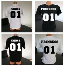 Rundhals T-Shirt PRINCE&PRINCESS f. Pärchen PARTNER COUPLE LIEBE LOVE Wunschzahl