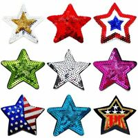 STAR IRON ON PATCH SEQUIN BADGE EMBROIDERED SEW USA APPLIQUE FABRIC PATCHES RED