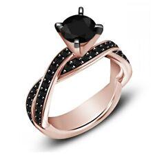 Black Diamond Twist Shank Engagement Ring Women's 925 Silver 1-1/5 Ct Round Cut
