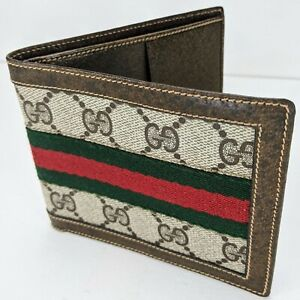 Authentic Rare Vintage '70s/80s Gucci Monogram Signature Stripe Bifold Wallet