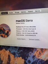 MacBook Pro 17 Inch 2.53GHz i5 8GB Memory 128GB SSD VGC