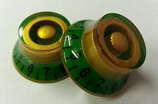 2 Guitar top hat volume/tone knobs. Candy Green/Royal Gold..       JAT