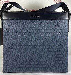 Michael Kors Cooper Blue Admiral MK Signature PVC Large Messenger Crossbody Bag
