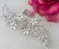 Bridal Silver long Hair Comb Clip Pin Bridal Diamante Crystal Slide Comb Sliver
