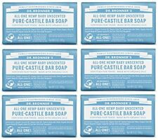 NEW Dr. Bronners Pure Castile Bar Soap  Baby Unscented 5 oz 6 Pack SHIPS FREE