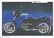 1993 BMW Motorcycle Brochure / Data Sheet: K-75 / K75