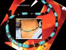 Men beads gemstone NECKLACE,Turquoise,black HEMATITE,MALA necklace,mens gift