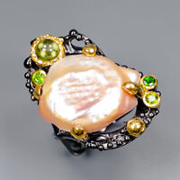Baroque Pearl Ring Silver 925 Sterling Fine Art Jewelry Design Size 7.5 /R145954