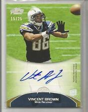 2011 Topps Prime Football Vincent Brown Auto Silver Parallel Rookie Card # 15/25